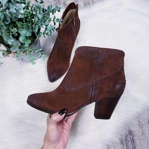 Frye Renee seam brown short bootie